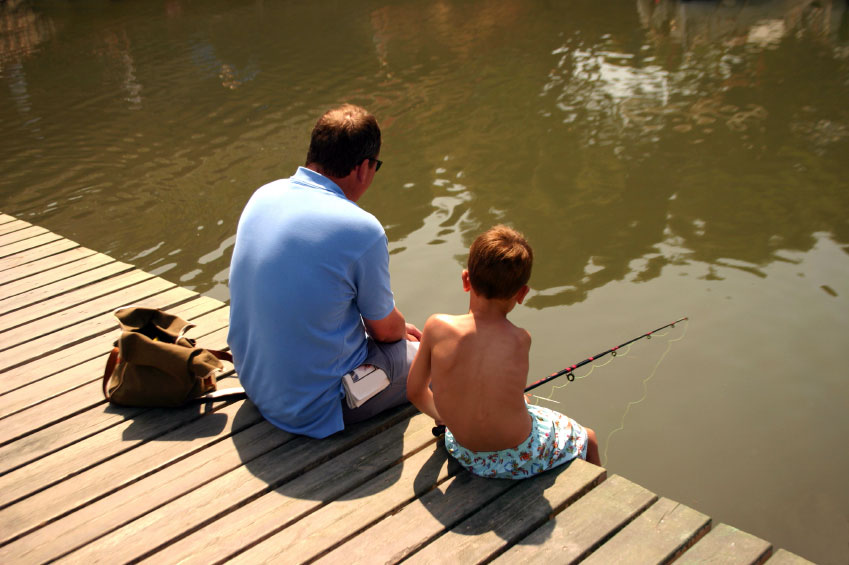 Fishing son and dad